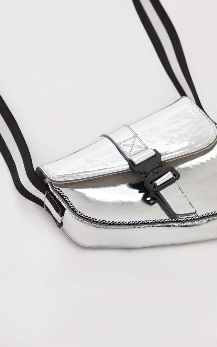 Silver Metallic Cross Body Bag 3