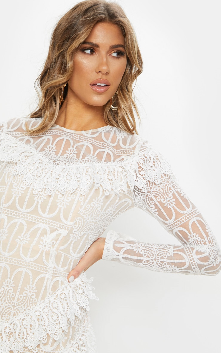 White Lace Frill Detail Long Sleeve Bodycon Dress 5