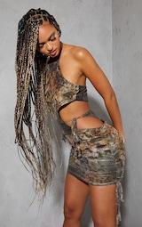 Multi Animal Print Mesh Halterneck Cut Out Waist Ruched Skirt Bodycon Dress 1