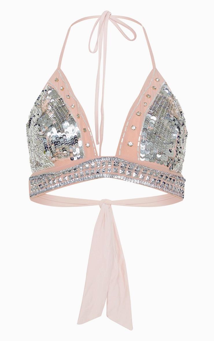 Nude Embellished Triangle Bikini Top 3