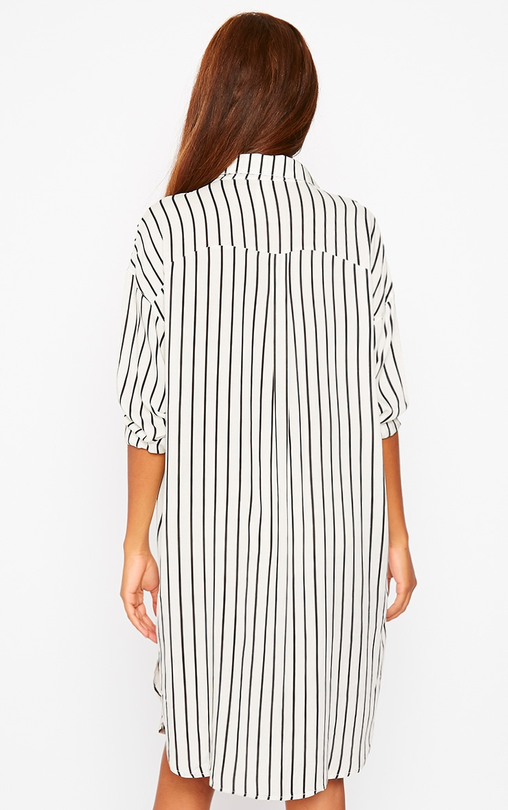 Bria Cream Stripe Shirt Dress 2