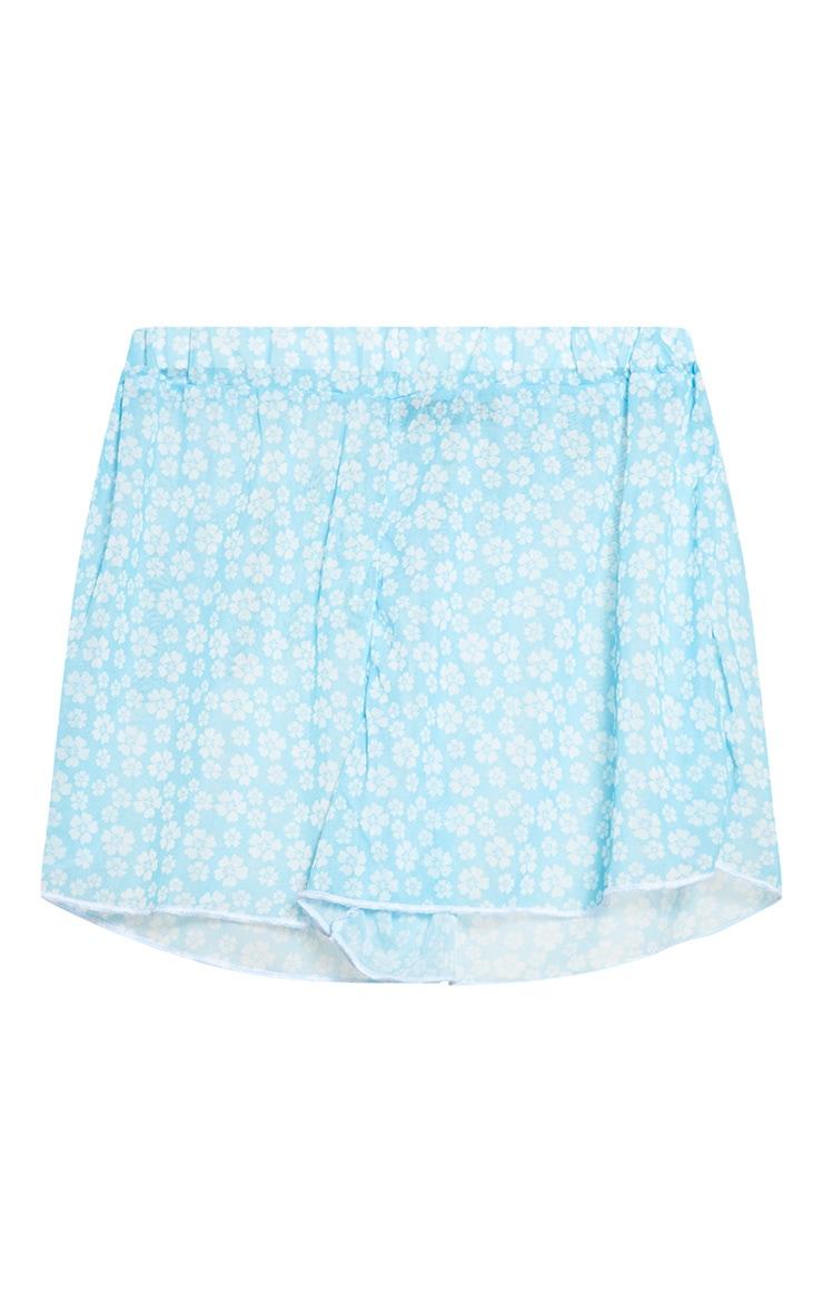 Blue Ditsy Floral Mesh Beach Shorts  3