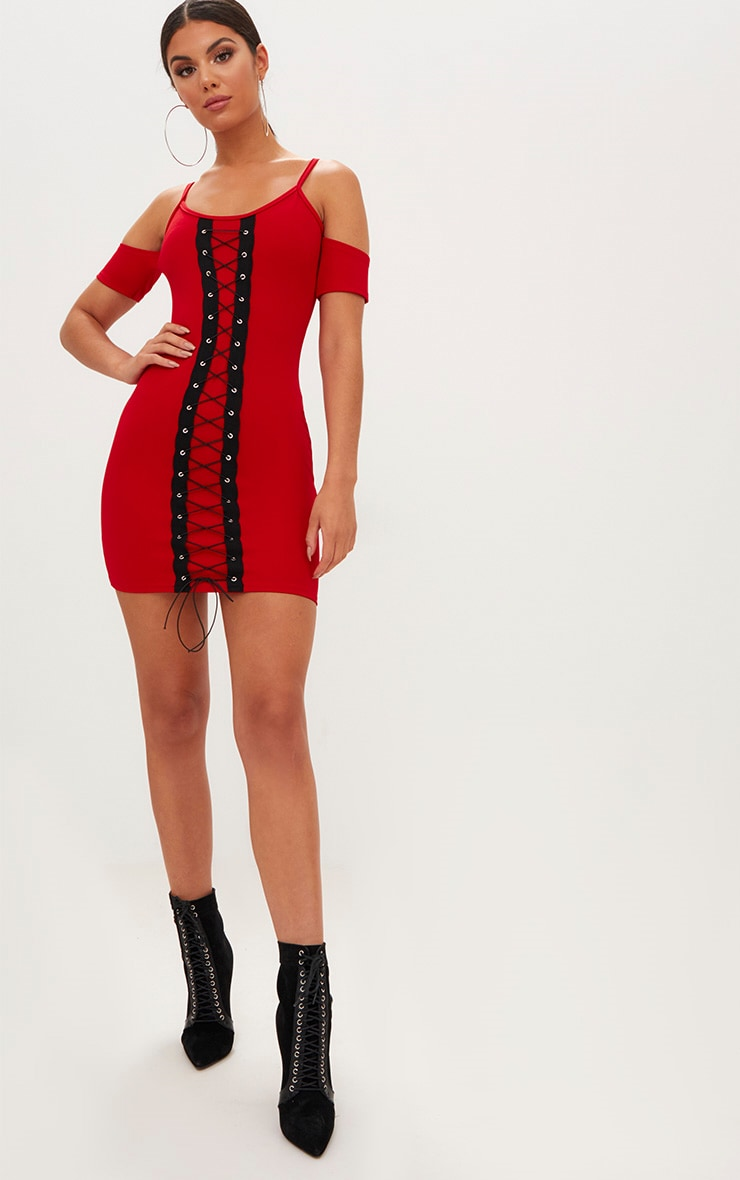 Red Cold Shoulder Lace Up Detail Bodycon Dress  4