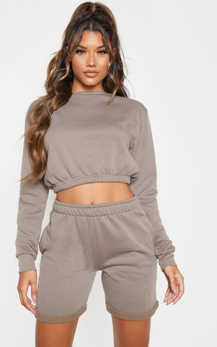 Grey Crew Neck Elasticated Hem Sweater 1