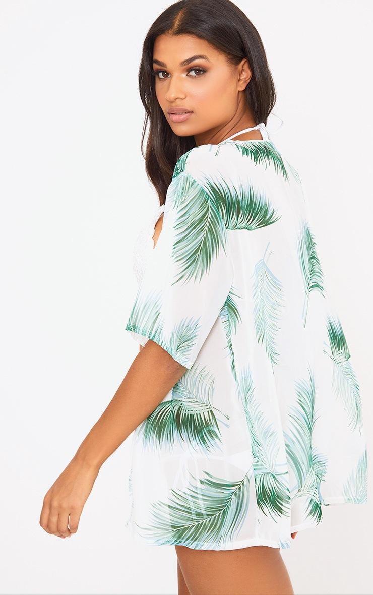White Palm Print Sheer Beach Cover Up  2