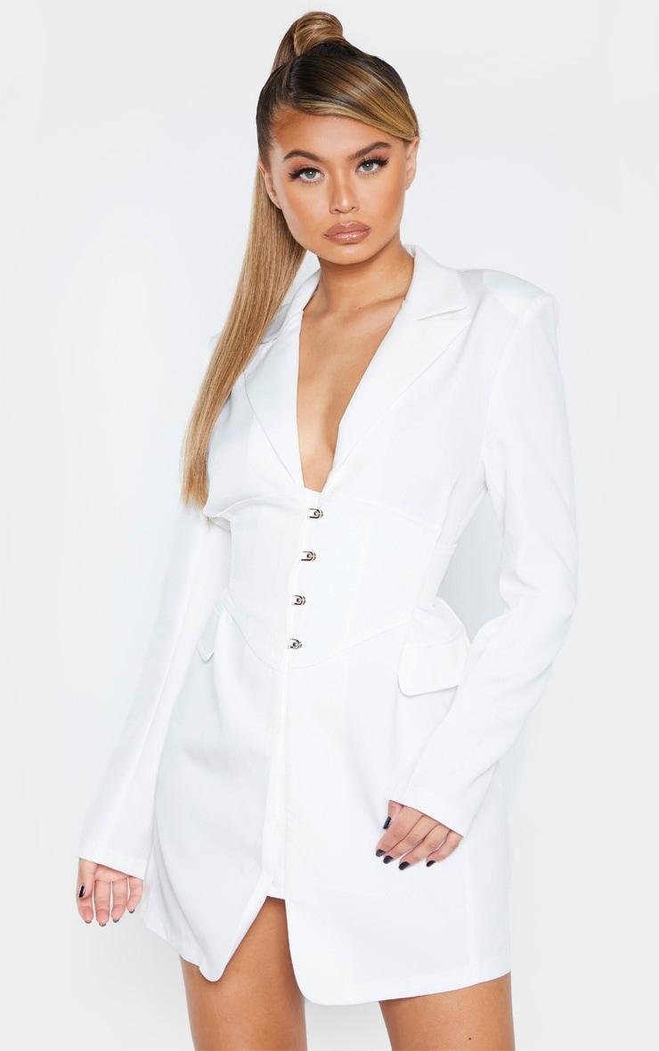 White Pin Detail Corset Blazer Dress 1