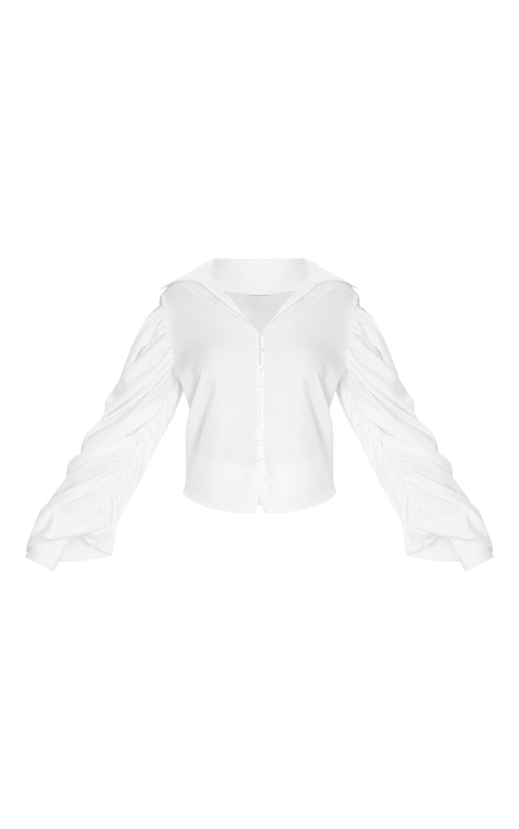 White Woven Cold Shoulder Extreme Sleeve Shirt 3