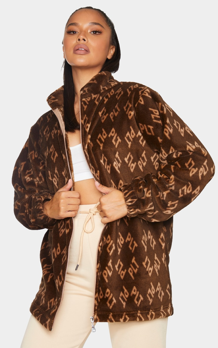 PRETTYLITTLETHING Brown Faux Fur Fleece Jacket 1