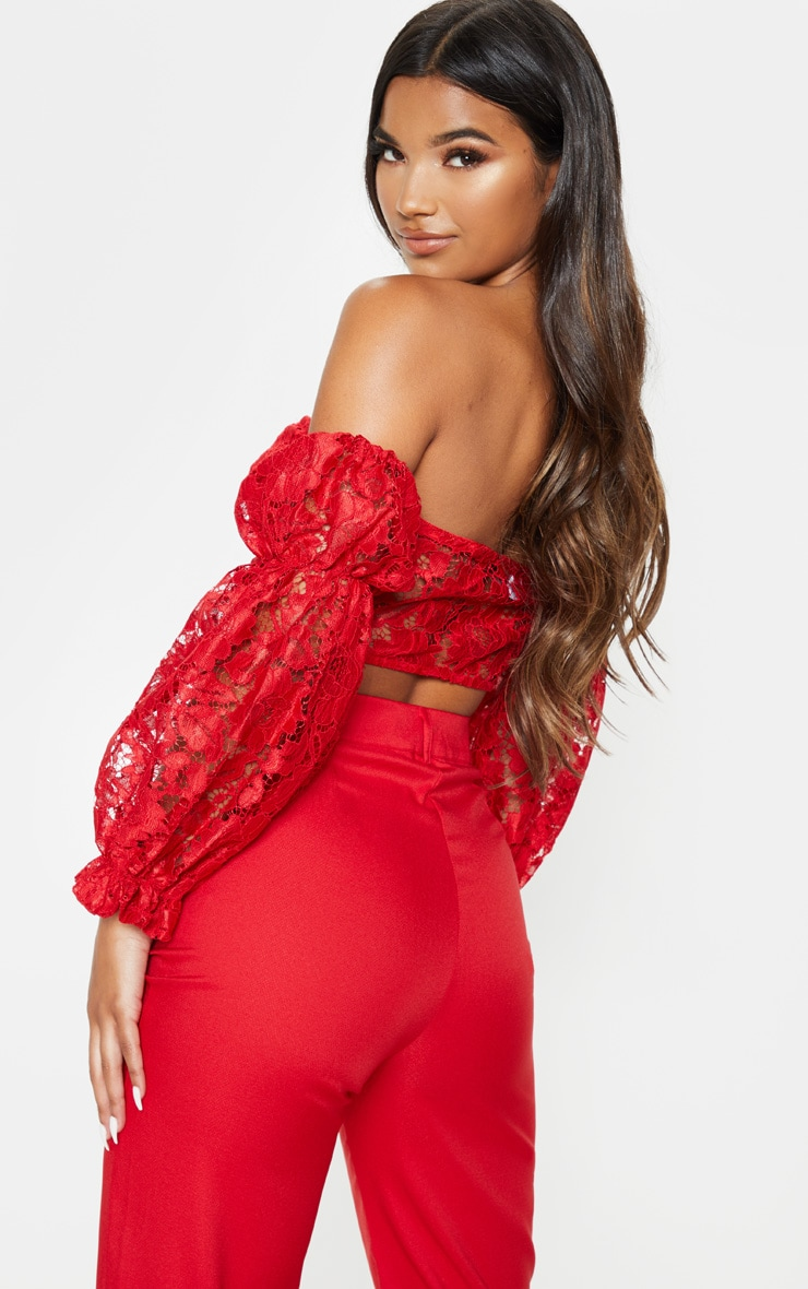 Red Lace Bardot Hook And Eye Crop Top 2
