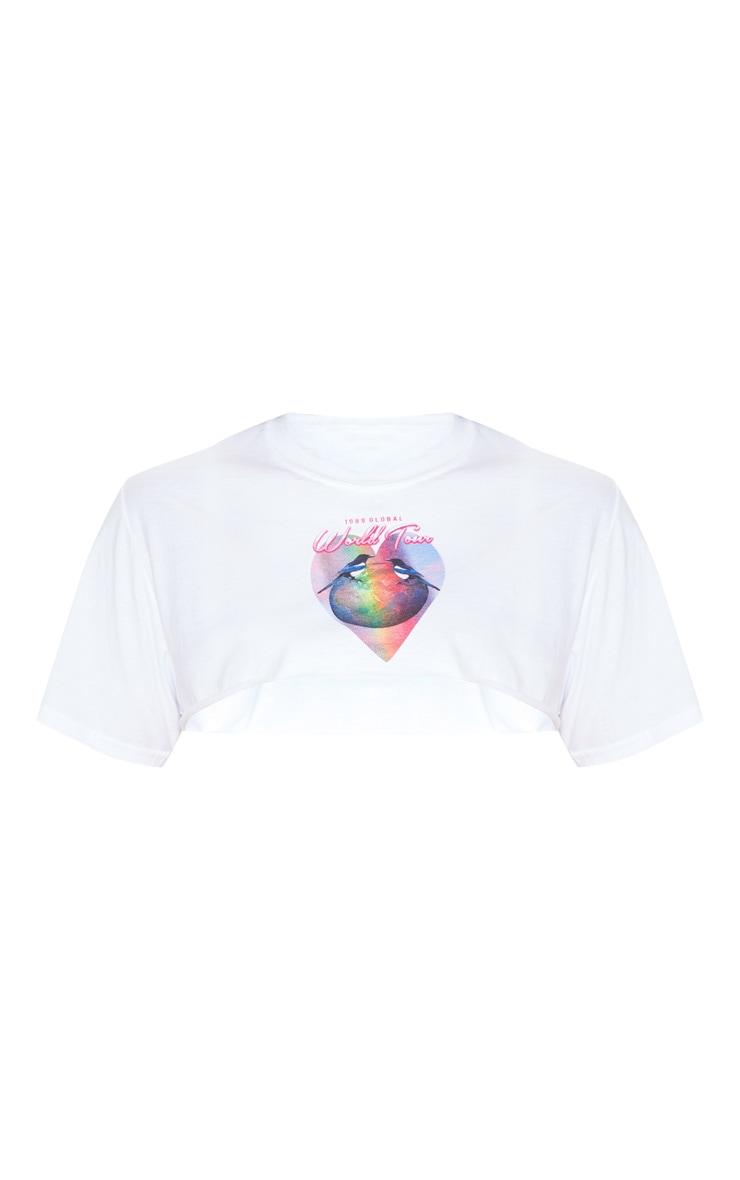 T-shirt très court blanc à imprimé 4