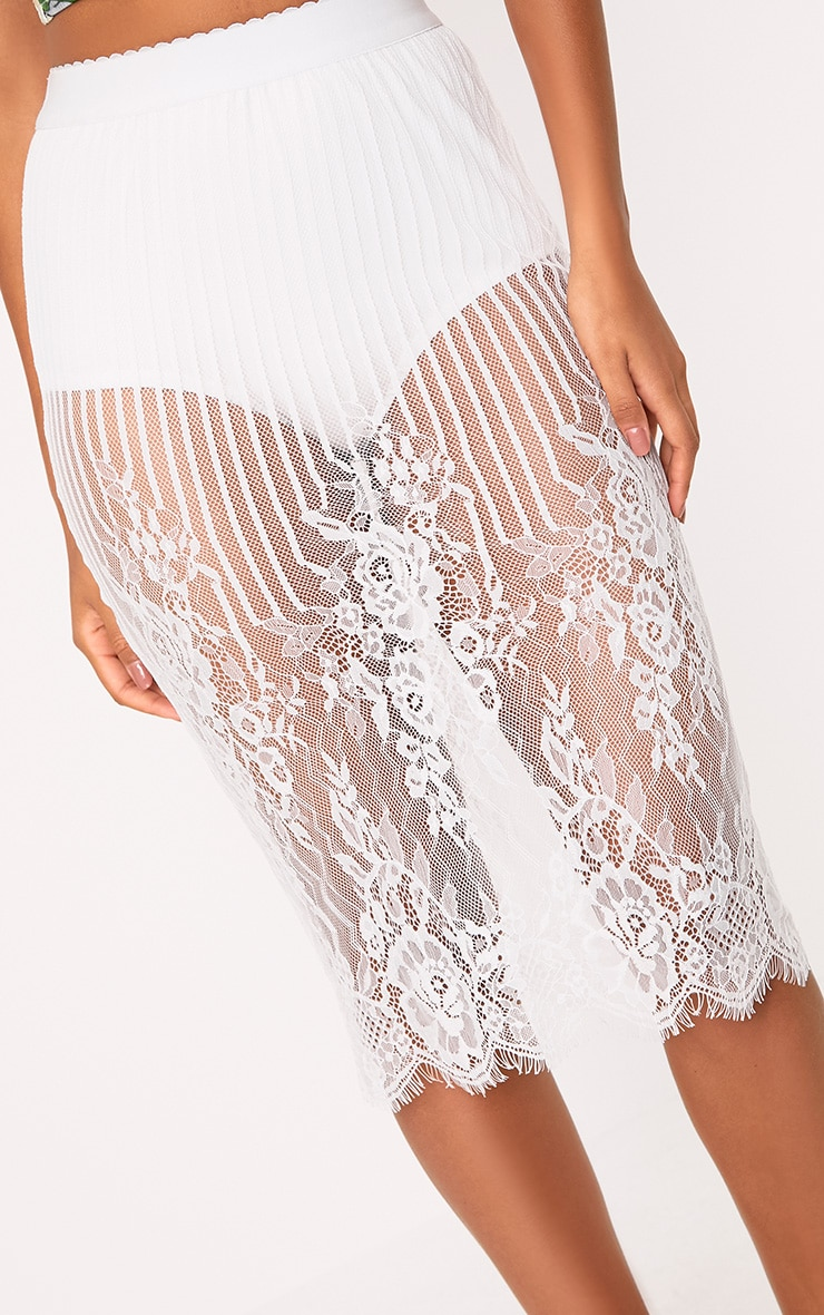 Armonda  Cream Knicker Insert Lace Midi Skirt  5