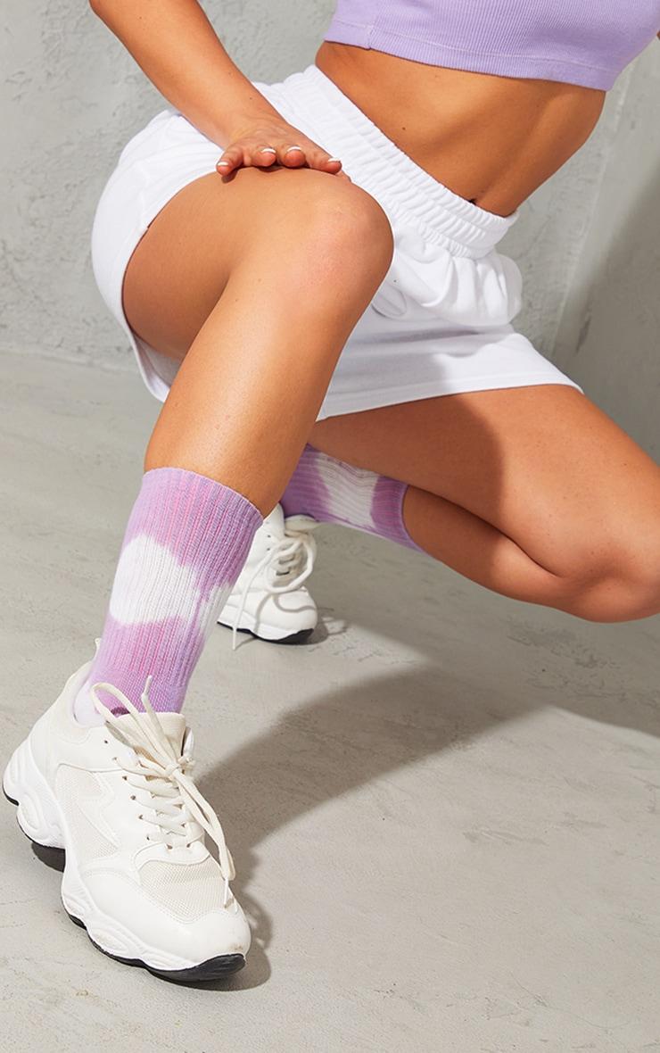 Lilac Oversized Tie Dye Ankle Socks 2