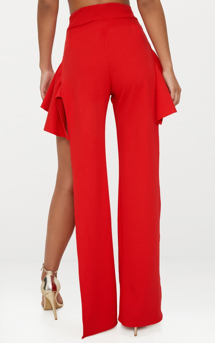 Red Crepe Frill Detail Split Wide Leg Trousers 3