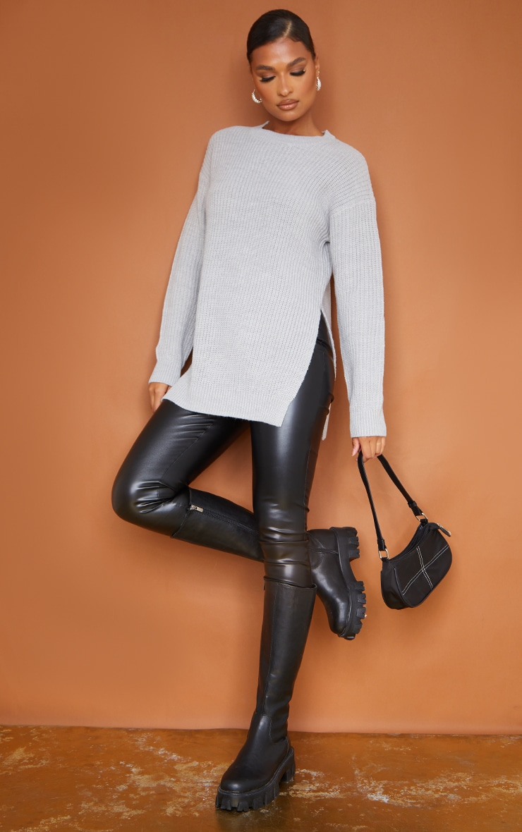 Grey Round Neck Side Split Sweater 3