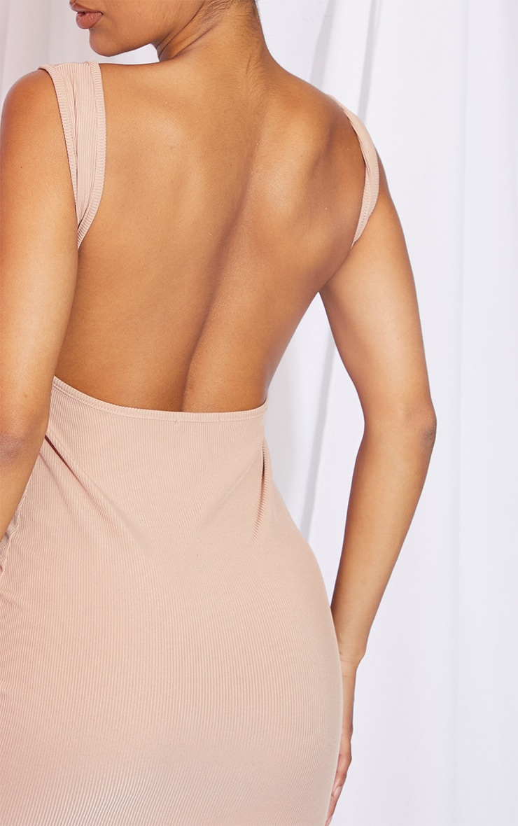 Stone Rib Sleeveless Scoop Back Detail Bodycon Dress 4
