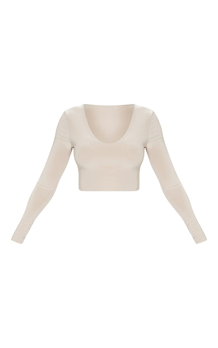 Stone Second Skin Long Sleeve V Neck Crop Top  5