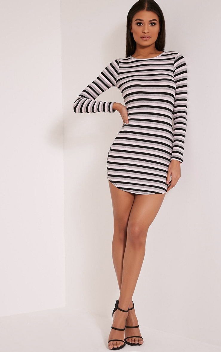 Peetra Pink Long Sleeve Curved Hem Stripe Dress 5