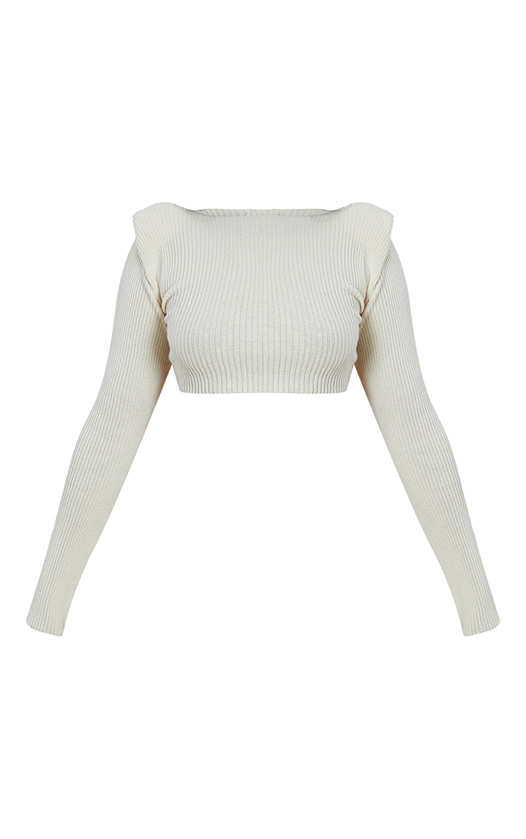 Cream Shoulder Pad Knitted Crop Top 5