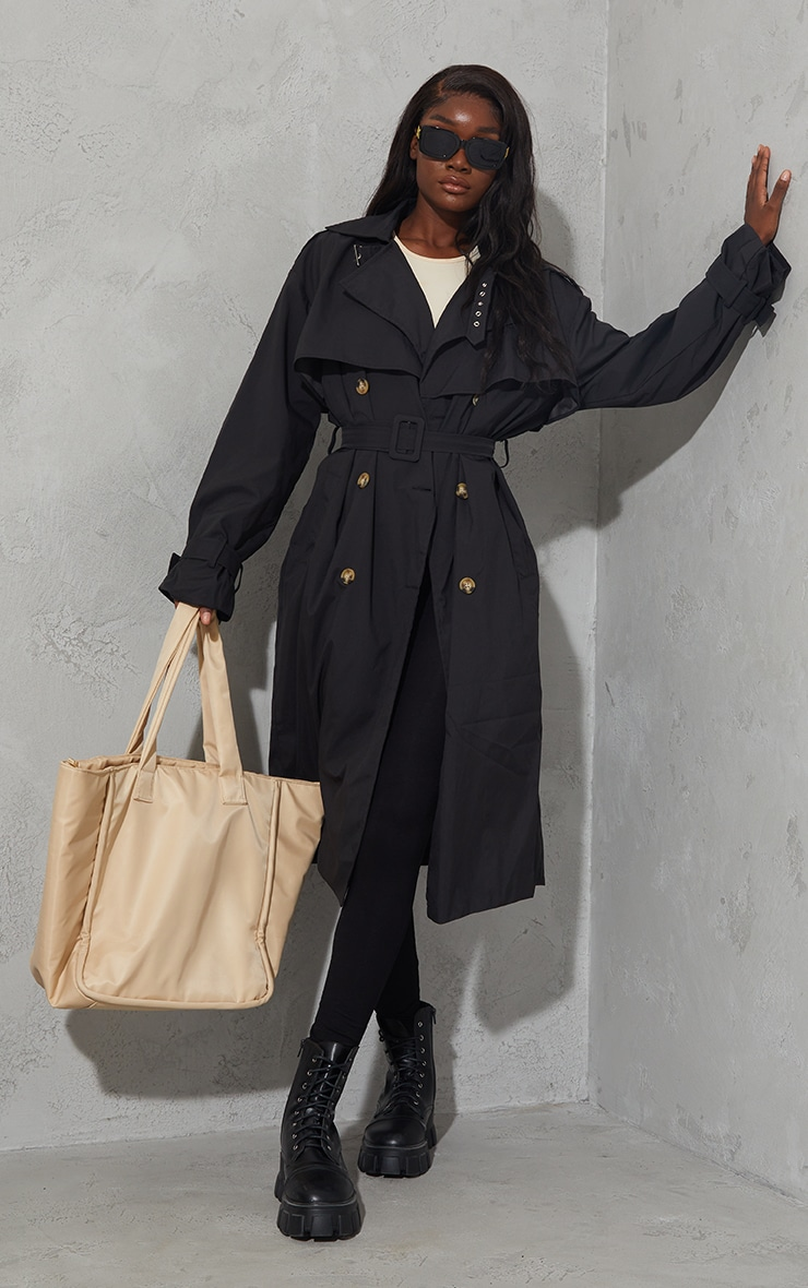 Tall Black Oversized Belted Midi Trench 1