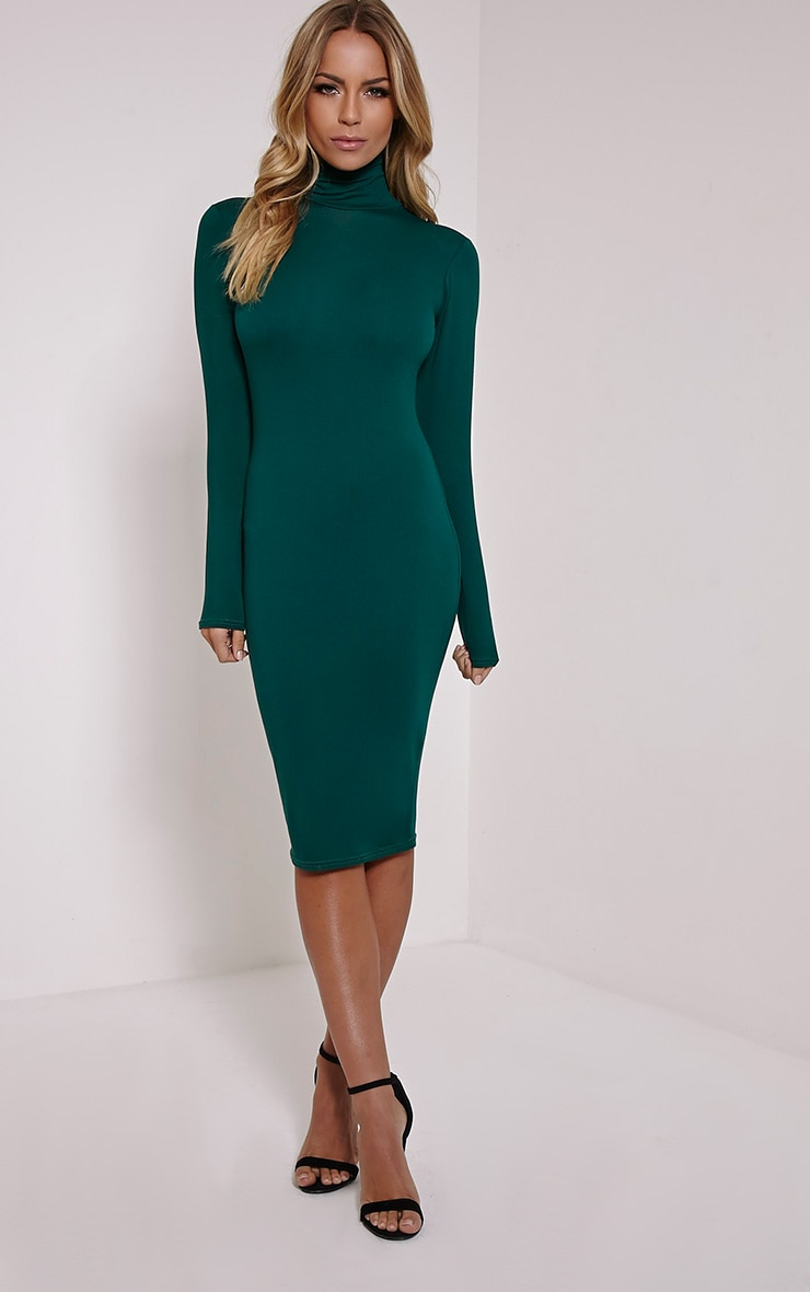 Basic Bottle Green Roll Neck Midi Dress 4