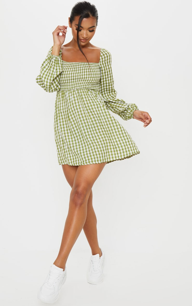 Green Gingham Shirred Smock Dress 3