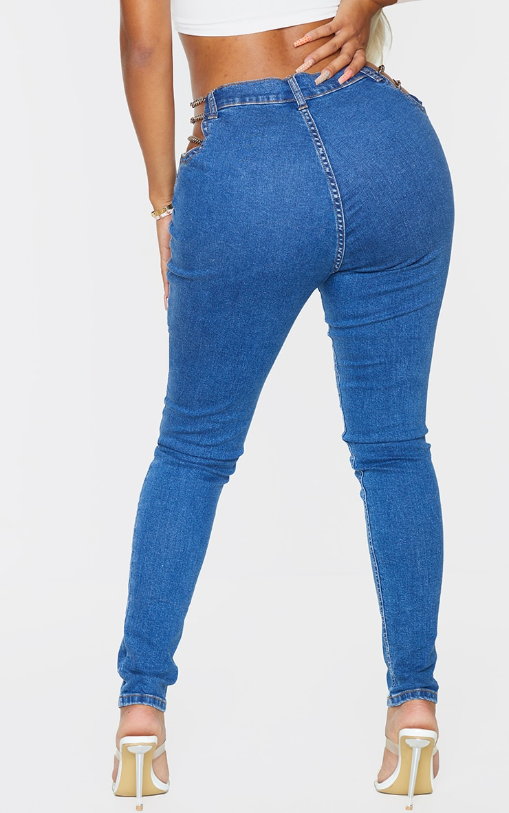 Shape - Jean skinny bleu moyennement délavé découpé détail chaîne 3