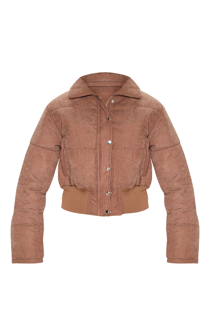 Chocolate Peach Skin Puffer Jacket 3