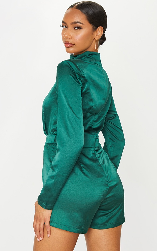 Emerald Green Draped Neck Shoulder Pad Playsuit 2