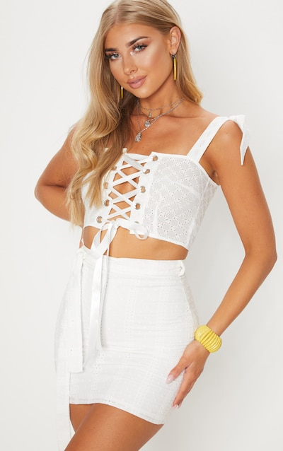 White Broderie Anglaise Lace Up Crop Top
