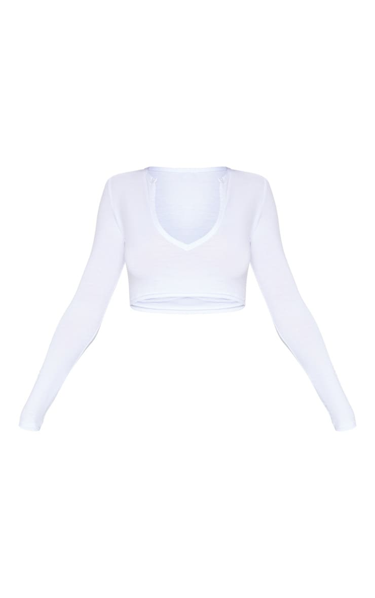 White Jersey Plunge Long Sleeve Crop Top 3