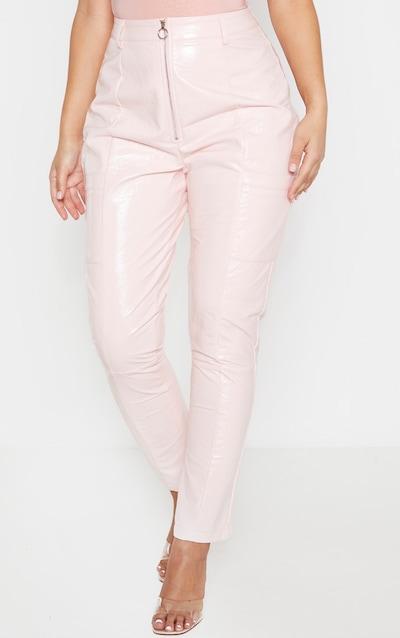 Baby Pink Vinyl Zip Up Straight Leg Trouser