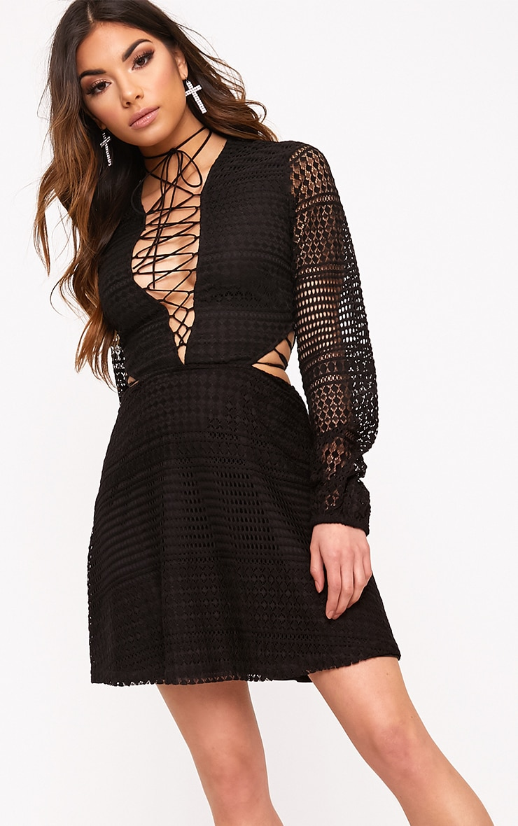 Daisie Black Lace Up Detail Swing Dress 1