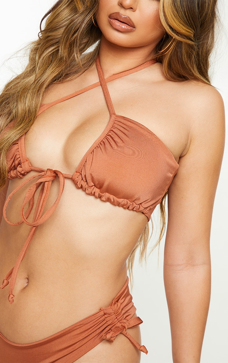 Latte Plain Ruched Tie Front Bikini Top 4