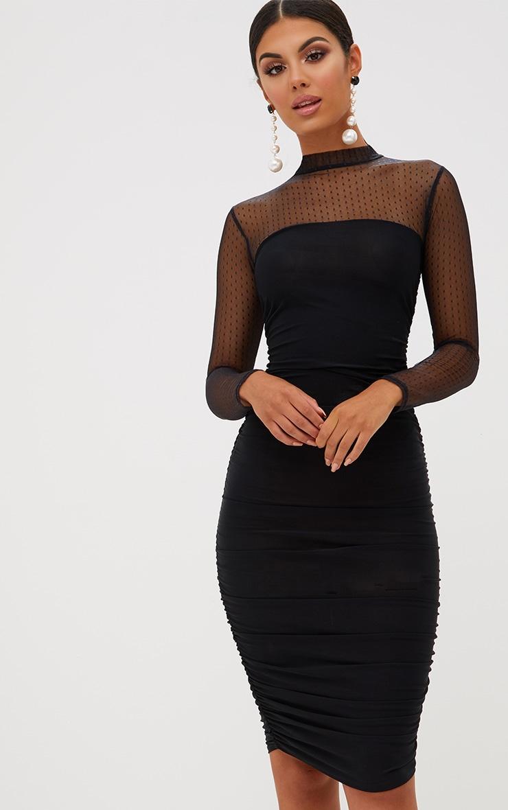 Black Dobby Mesh Bodycon Dress 2