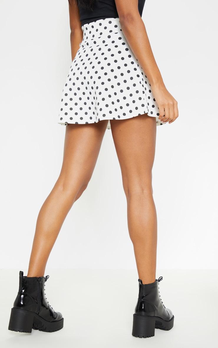 Polka Dot Printed Scuba Flippy Mini Skirt  4