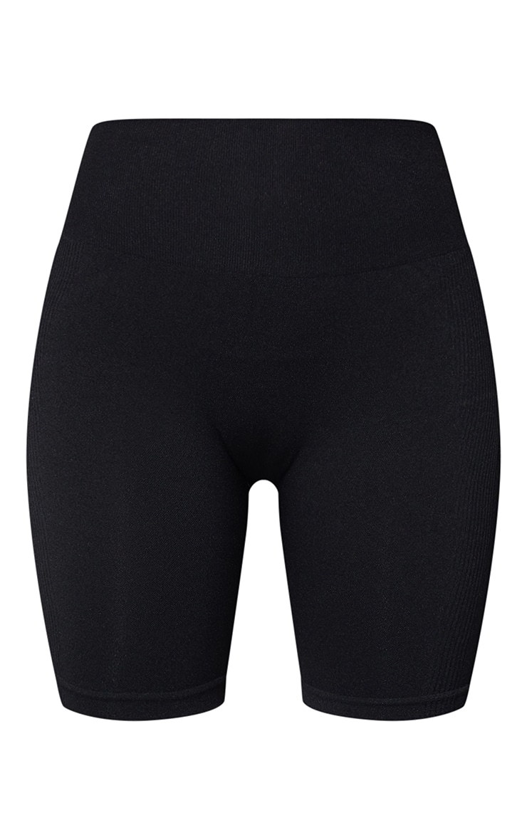 Black Seamless Ruched Bum Cycle Shorts 6