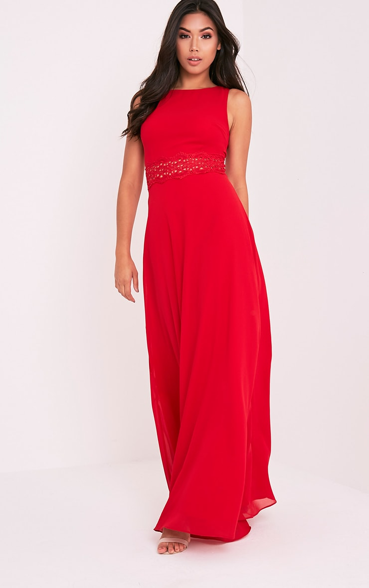 Caitlan Red Lace Insert Maxi Dress 4