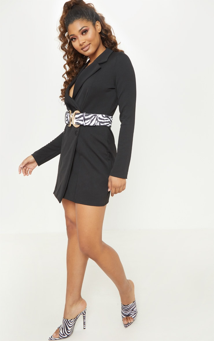 Tall Black Mini Double Breasted Blazer Dress 4