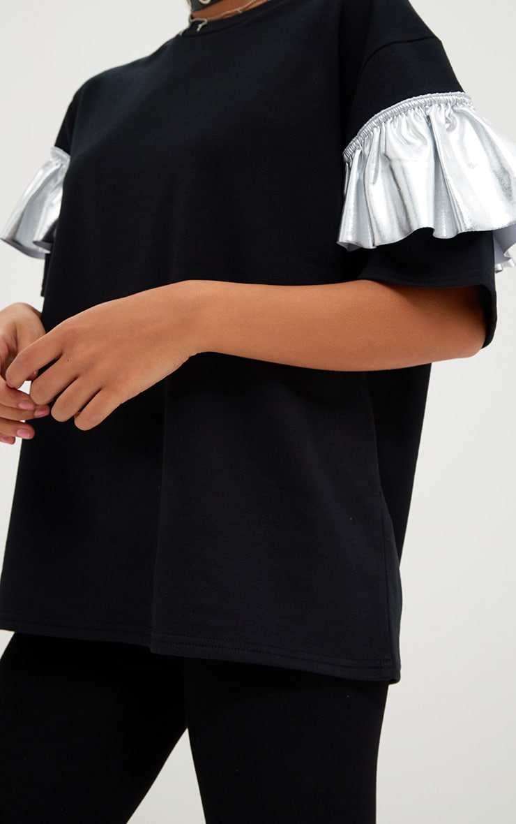 Silver Foil Frill Oversized T Shirt 4
