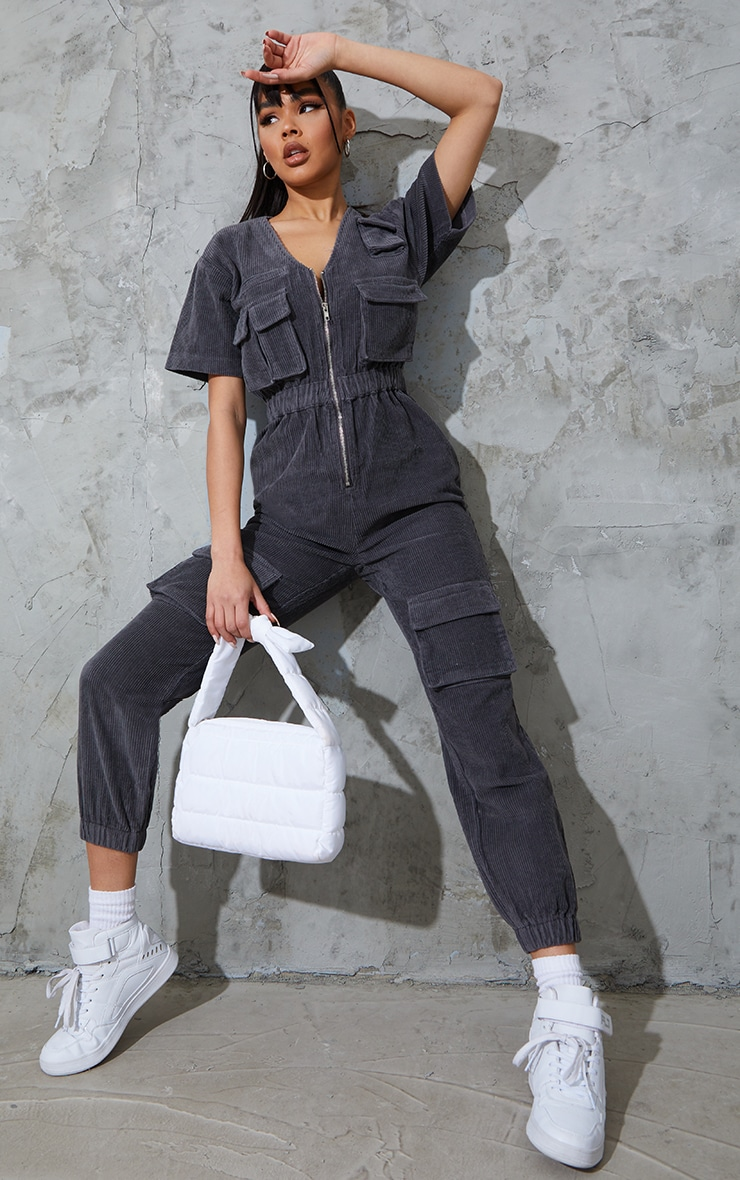 Grey Short Sleeved Cargo Pocket Cord Jumpsuit 1
