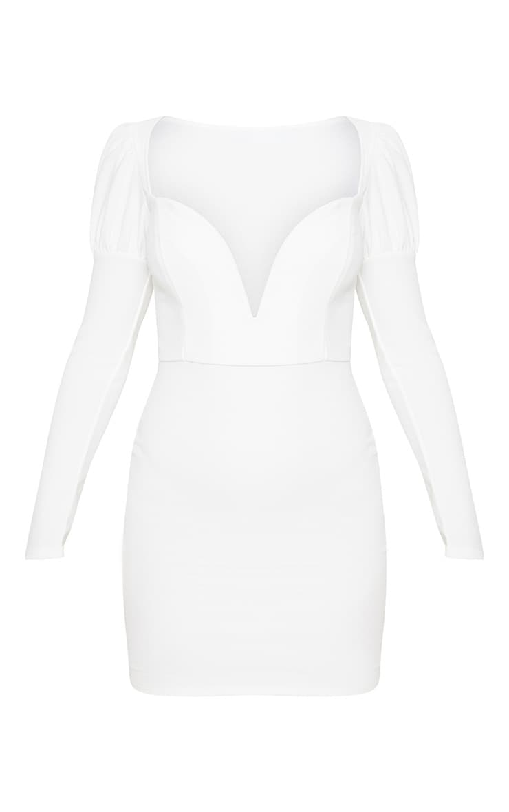 White Puff Shoulder Deep Plunge Bodycon Dress 3