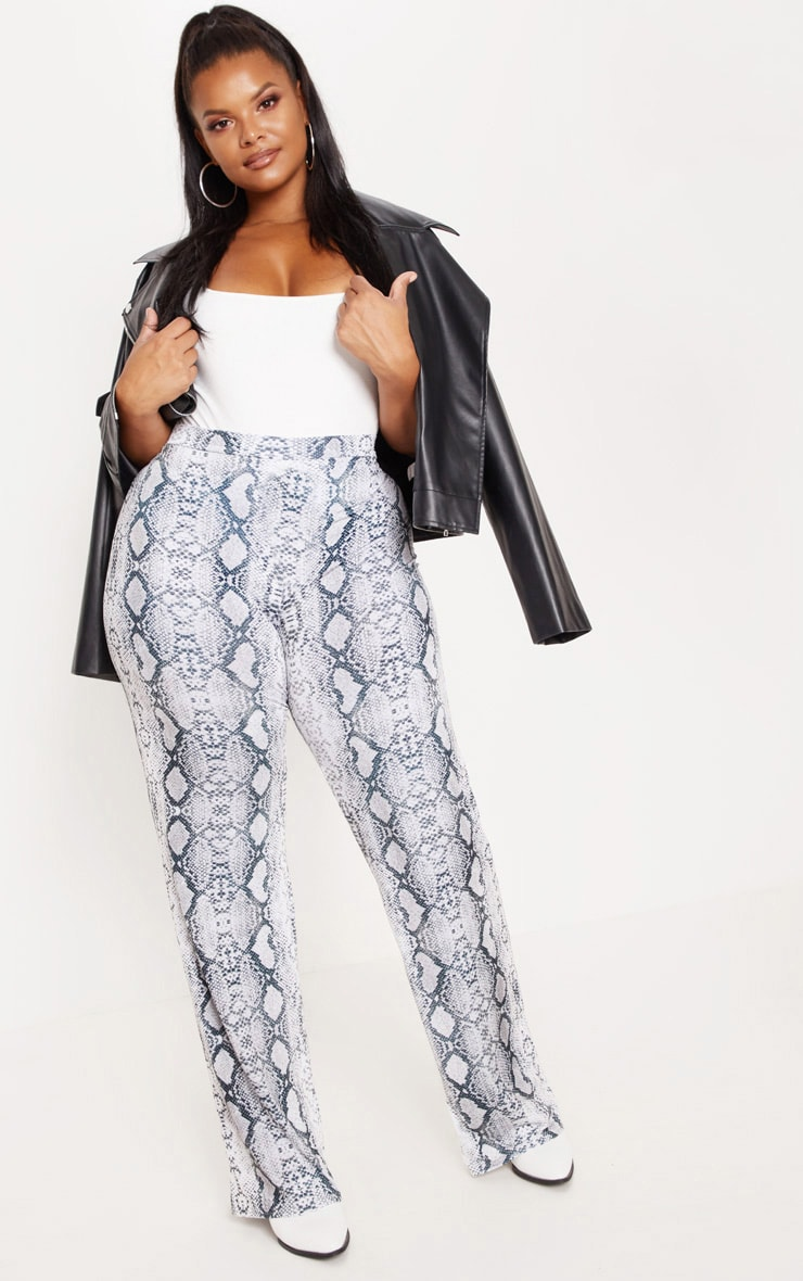 Plus Grey Snake Print Wide Leg Trousers 1