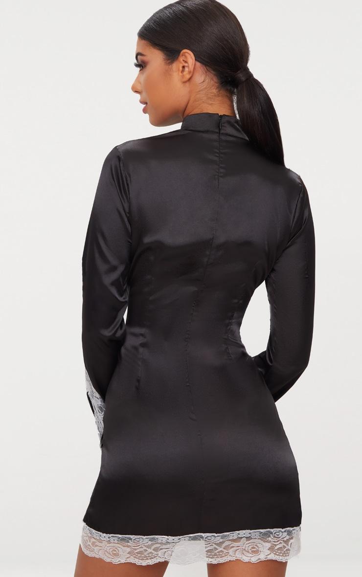 Black Satin Lace Trim High Neck Extreme Split Bodycon Dress  2