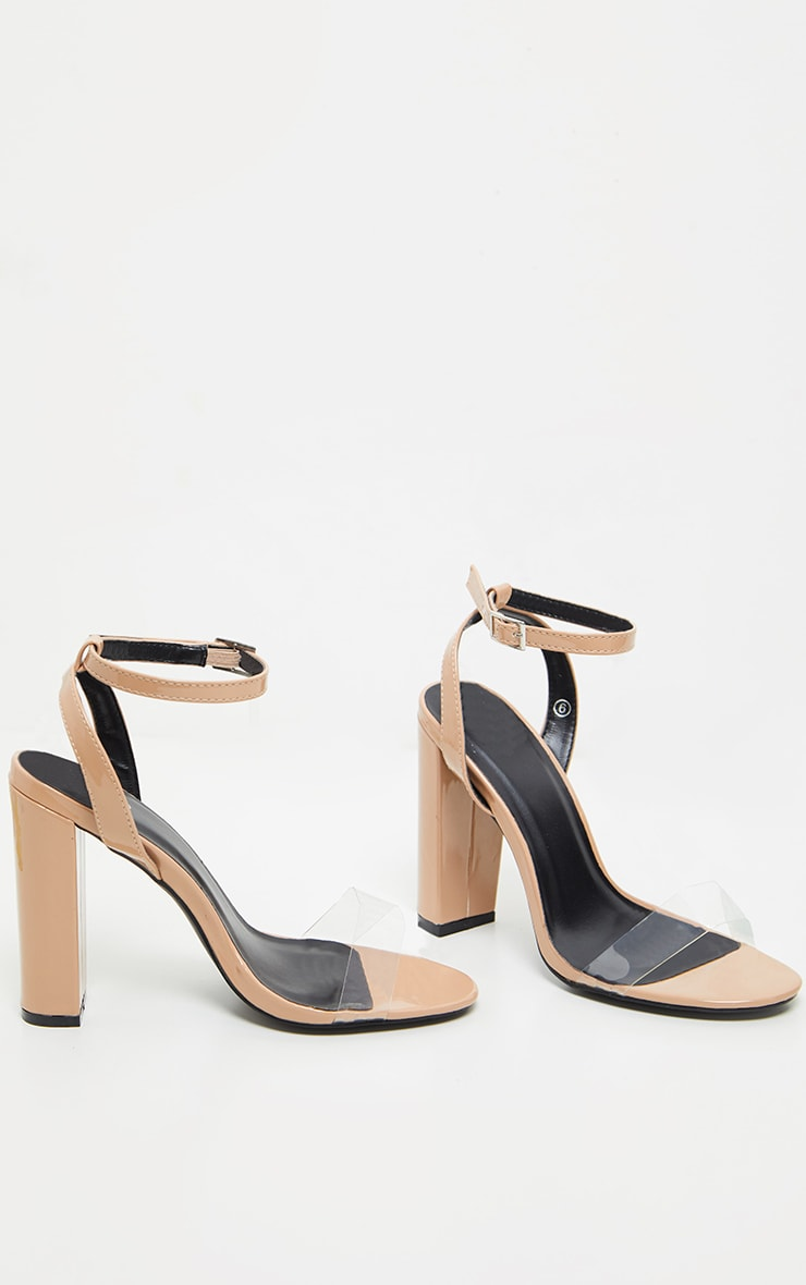 Nude Clear Strap Block Heel Sandal 4