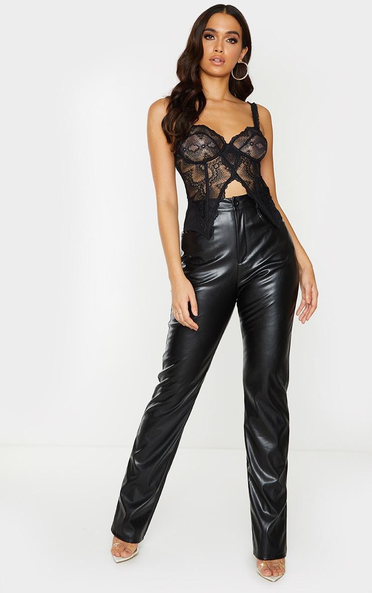 Black Lace Split Hem Corset 3