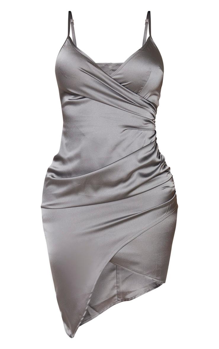 Shape - Robe portefeuille gris anthracite satinée 3