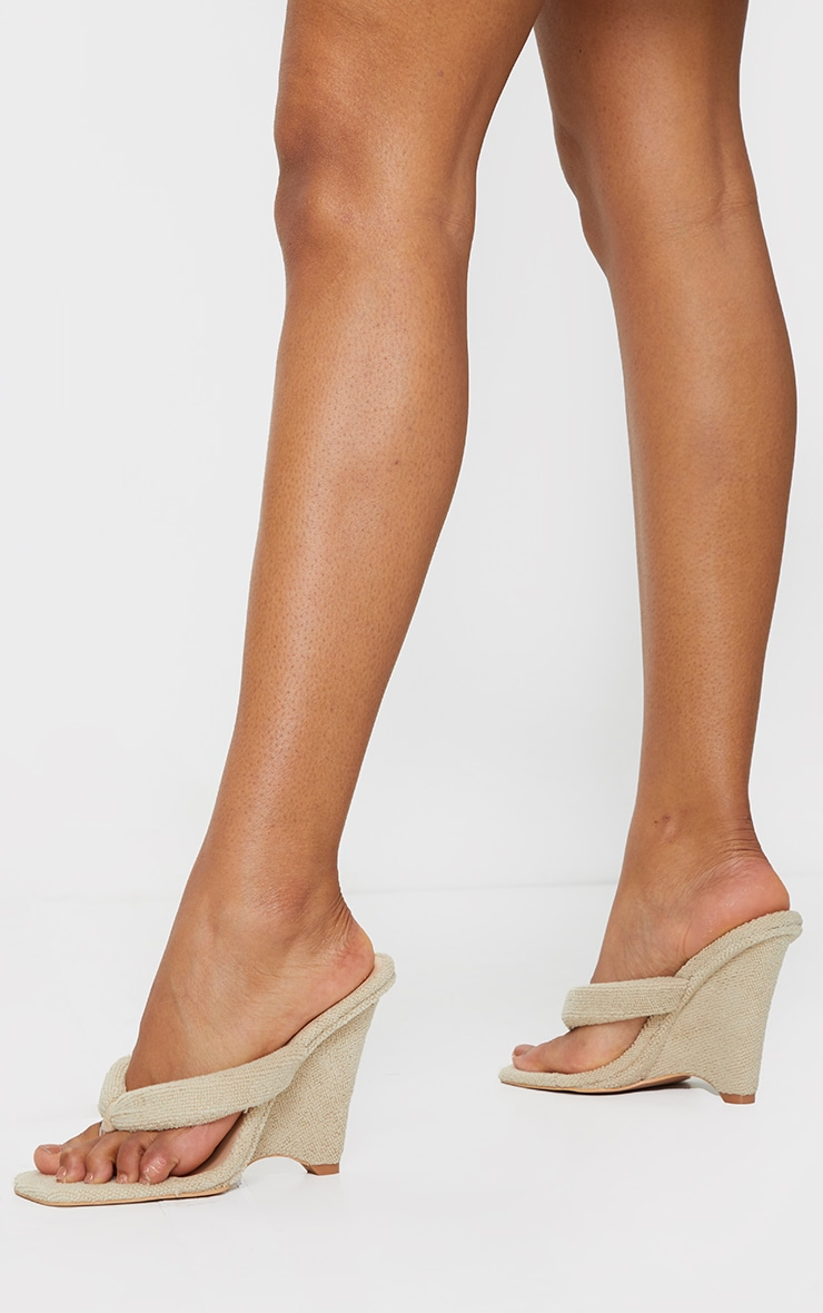 Sand Towelling Wedge Toe Thong Heels 2