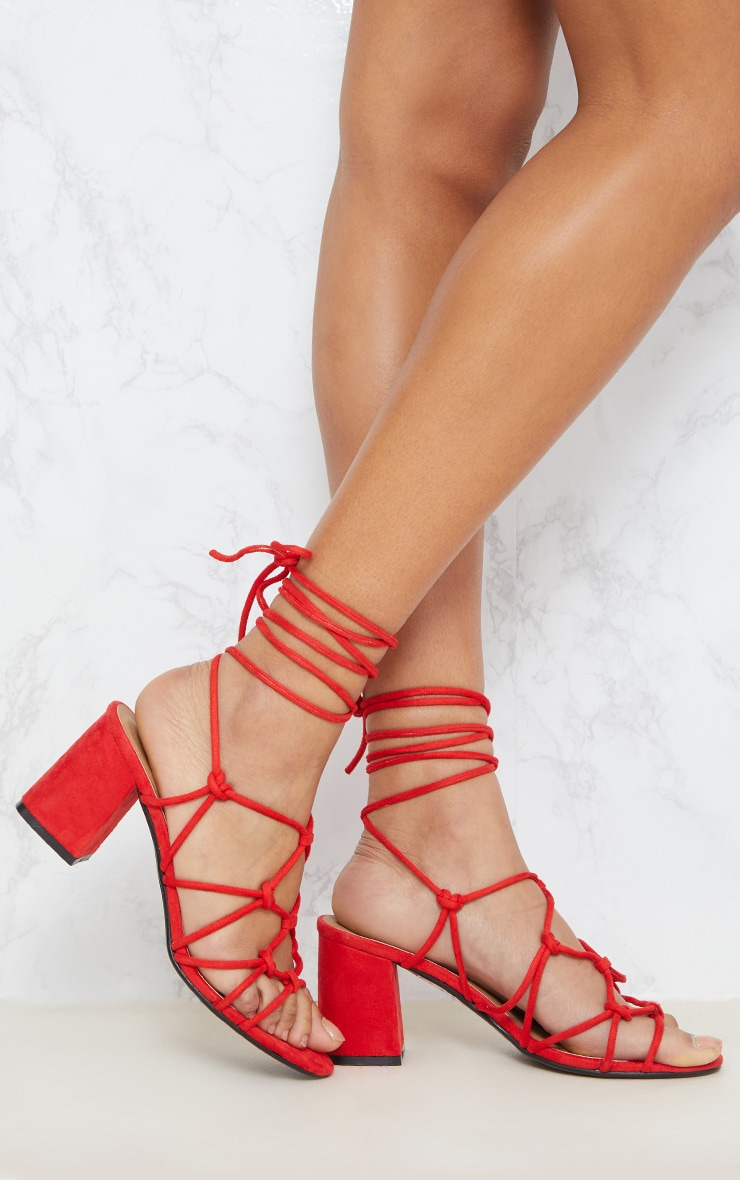 Red Block Heel Leg Tie Sandal 1
