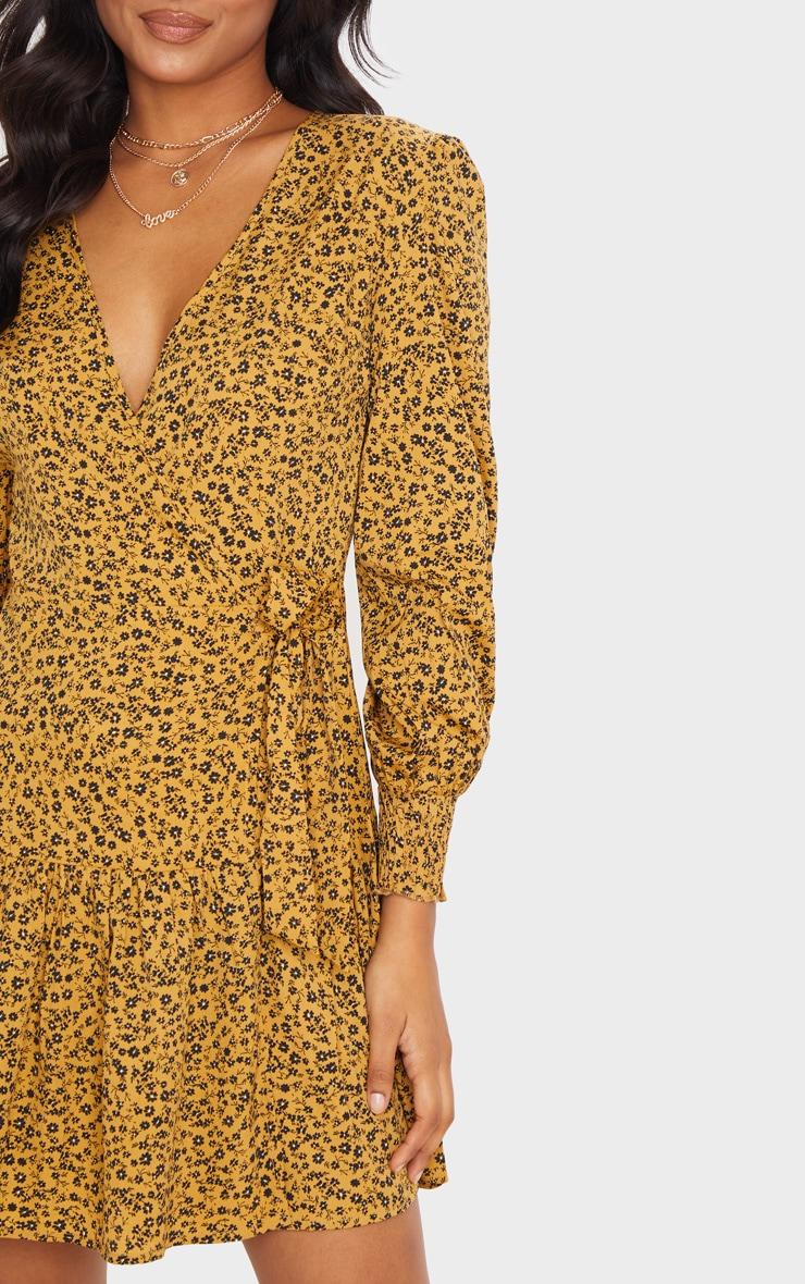 Mustard Ditsy Floral Frill Hem Wrap Front Tea Dress 5