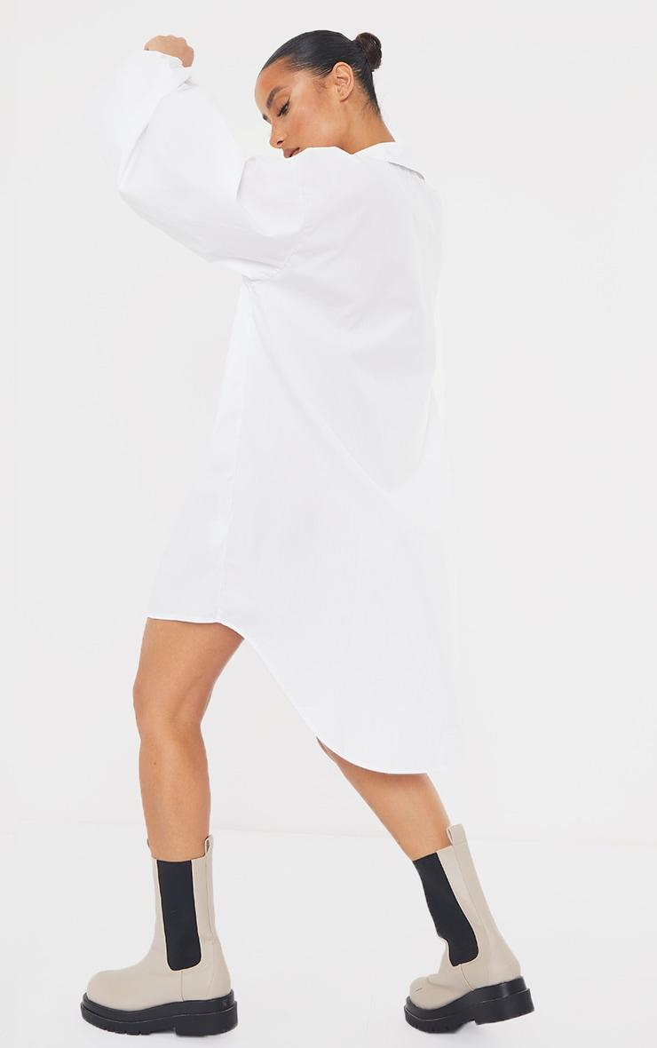 White Button Down Balloon Sleeve Drop Hem Shirt Dress 2
